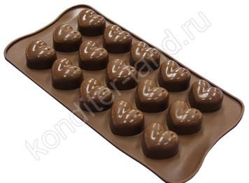 """Силиконовая форма для шоколада """"Сердечки объемные"""""""
