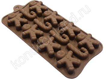 """Силиконовая форма для шоколада """"Человечек с тростью"""""""