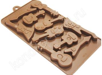 """Силиконовая форма для шоколада """"Гитары"""""""