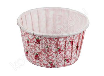 """Бумажная форма для выпечки ламинированная """"Маффин"""" чайная роза цвет розовый"""