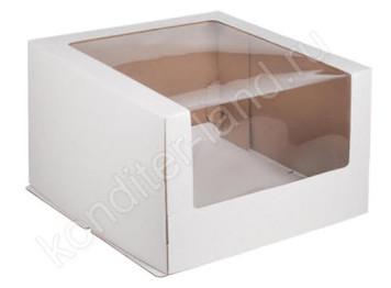 Упаковка для торта белая с окном, 26х26х21 см