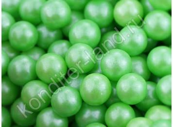 Бусины зеленые перламутровые 8 мм, 50 гр