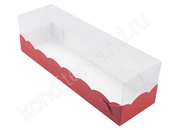 Упаковка для макаронс красная с пластиковой крышкой