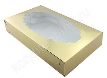 """Упаковка для эклеров с окном """"Золото"""", 240х140х50 мм"""