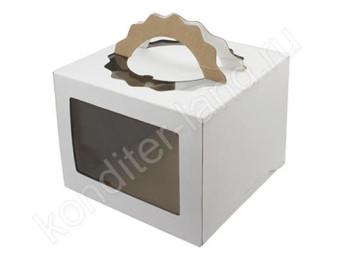 Упаковка для торта белая с ручками, 240х240х200 мм