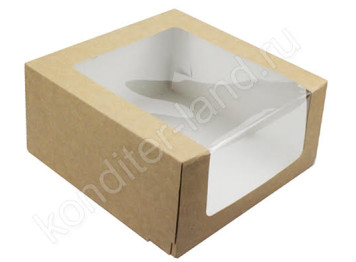 Упаковка для торта крафтовая с окном 235х235х115 мм