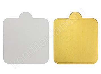 """Подложка для пирожных с ручкой квадратная """"Золото"""", d= 8 см"""