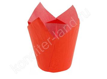 Бумажная форма для выпечки «Тюльпан» красный 50х80, 10 шт