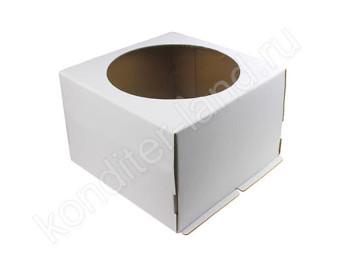 Упаковка для торта белая с окном, 24х24х18 см УПЛОТНЕННАЯ