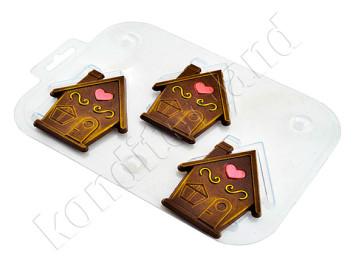 """Форма для шоколада пластиковая """"Три домика"""""""