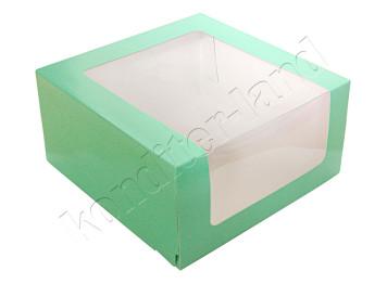 "Упаковка для торта ""Зеленая"" с окном 235х235х115 мм"