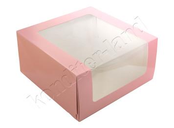 """Упаковка для торта """"Розовая"""" с окном 235х235х115 мм"""