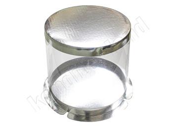 """Упаковка для торта """"Круглая"""" серебрянная пластиковая, 250х213 мм"""