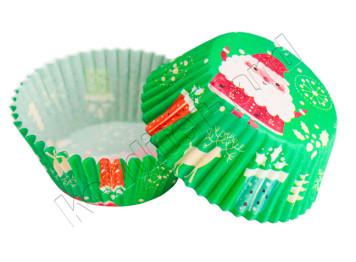 "Бумажные формы для выпечки ""Дед Мороз"" 50х30 мм, 24 шт"