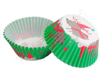 """Бумажные формы для выпечки """"Олень в колпаке"""" 50х30 мм, 24 шт"""