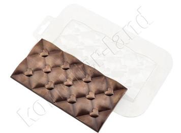 "Форма для шоколада пластиковая ""Плитка сердечки"""