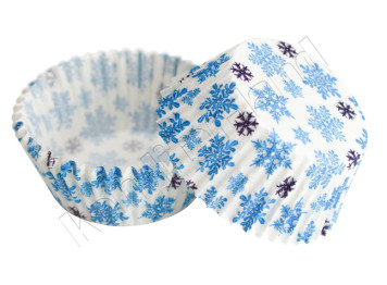 """Бумажные формы для выпечки """"Искристые снежинки"""" 50х30 мм, 24 шт"""
