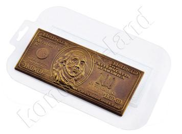 """Форма для шоколада пластиковая """"Сто долларов"""""""