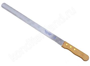 Нож для нарезки бисквита с деревянной ручкой, 35 см