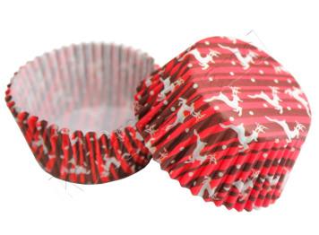 """Бумажные формы для выпечки """"Рождественские олени"""" 50х30 мм, 24 шт"""