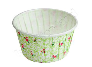 """Бумажная форма для выпечки ламинированная """"Маффин"""" чайная роза цвет зеленый, 12 шт"""