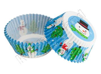 """Бумажные формы для выпечки """"Снеговик"""" 50х30 мм, 24 шт"""