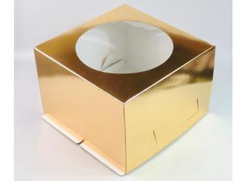 Упаковка для торта золотая с окном, 26х26х18 см