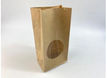 Пакет бумажный крафтовый с окном 8х17х5 см, 10 шт