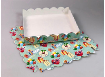 Упаковка для печенья и пряников тиффани 200х200х35 мм