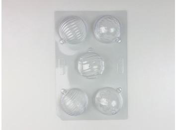 Пластиковая форма Новогодние шары (5дизайнов, диам 7см), VALRHONA Франция