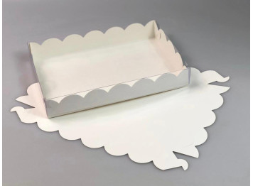 Упаковка для печенья и пряников белая 220х150х35 мм