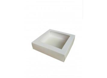 Упаковка для зефира и печенья с окном белая, 20х20х7 см