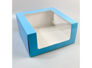 """Упаковка для торта """"Голубая"""" с окном 235х235х115 мм"""