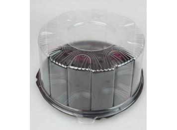 """Упаковка для торта пластиковая """"Круглая"""", черная d=22 см"""