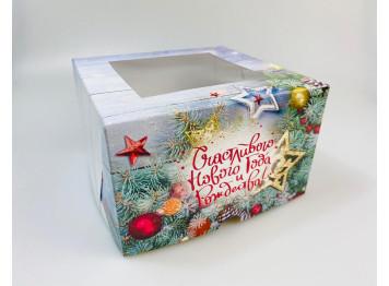 """Упаковка на 4 капкейка """"С Новым годом"""", с окном"""