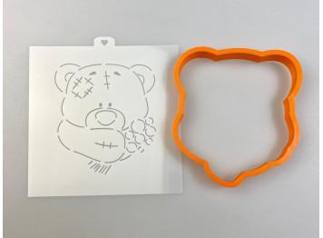 """Вырубка пластиковая и трафарет """"Мишка Тедди с букетом 2"""" 11,5 см"""