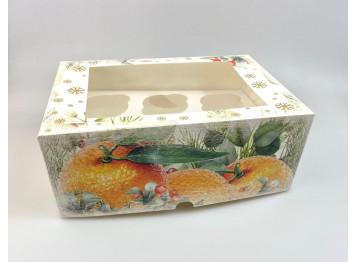 """Коробка для 6 капкейков """"Апельсины"""", с окном"""