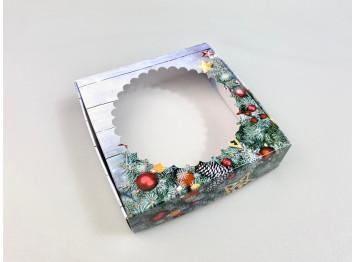 """Коробка для печенья """" С Новым годом"""" 12х12х3 см, с окном"""
