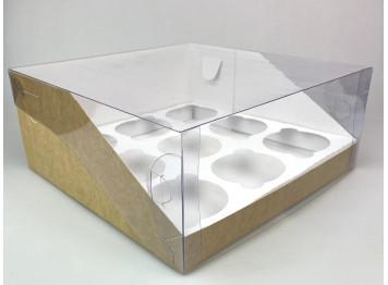 Упаковка на 9 капкейков с пластиковой крышкой крафт